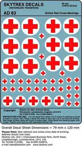SKYTREX DECALS British Red Cross Markings 1/76,20mm Scale