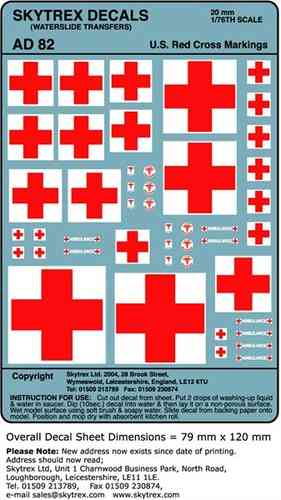 SKYTREX DECALS US Red Cross Markings 1/76,20mm Scale (AD82)