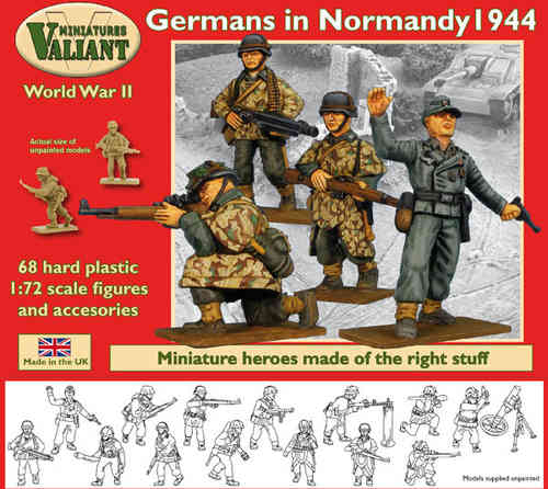 Valiant Miniatures-WWII Germans in Normandy 1944 Figures Kit/War gaming.