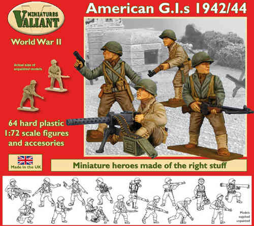 Valiant Miniatures-WWII American G.I.s 1942/44 Figures Kit/War gaming.