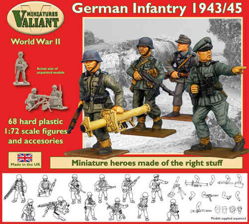 Valiant Miniatures-WWII German Infantry 1943/45 Figures Kit/War gaming.