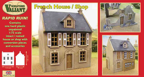 Valiant Miniatures-WWII Rapid Ruin French House / Shop Kit/War gaming.