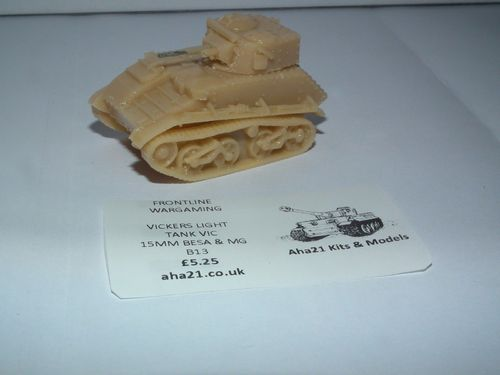 WWII BRITISH VICKERS LIGHT TANK VIC 15MMM BESA & MG RESIN MODEL KIT -B13